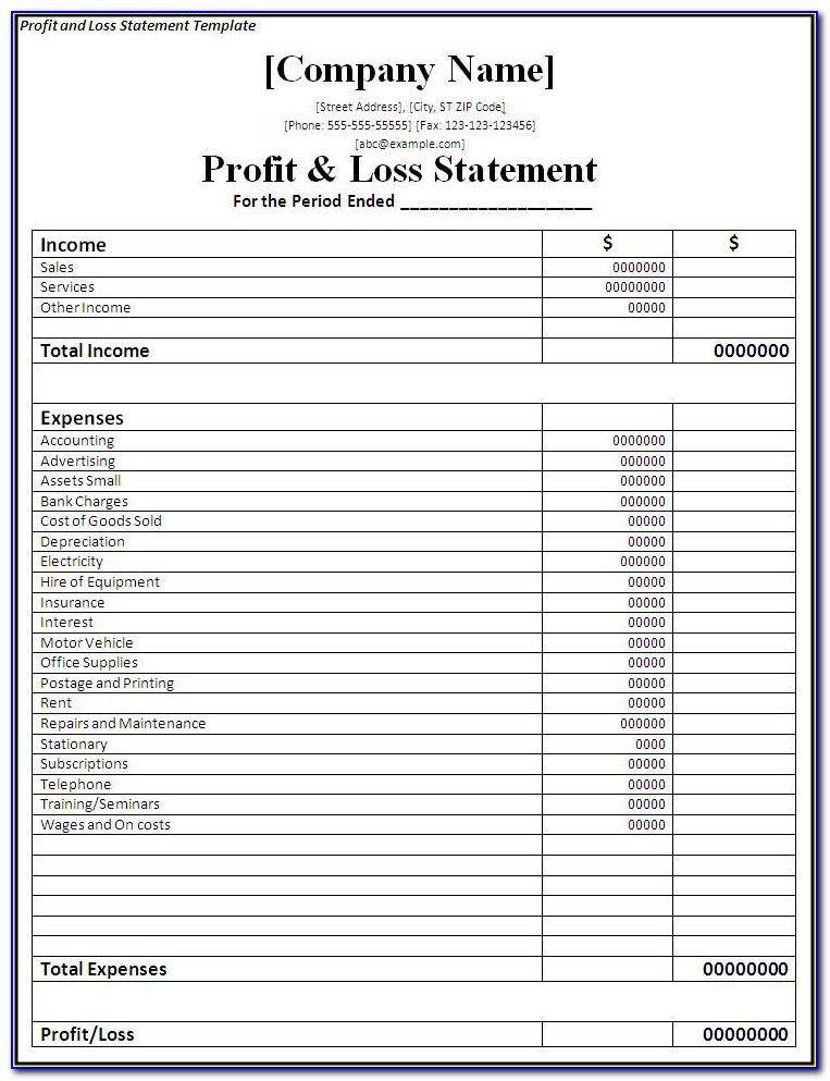 Profit And Loss Statement Printable Form