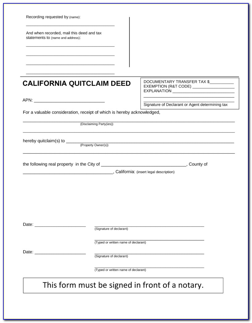 Quick Claim Deed For Property Form