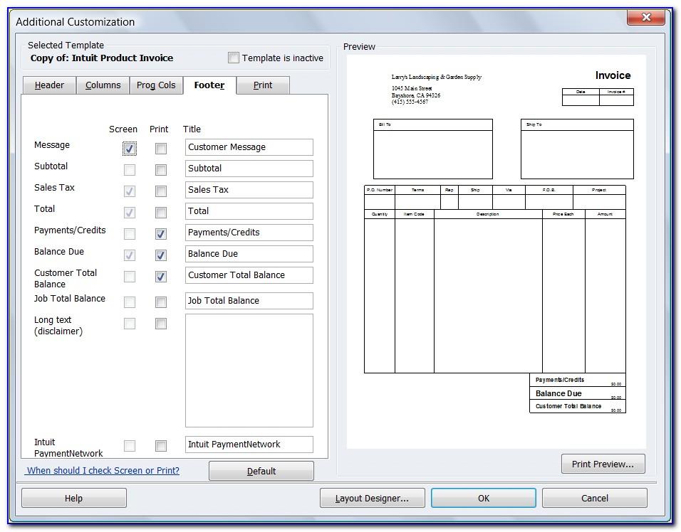 Quickbooks Invoice Example