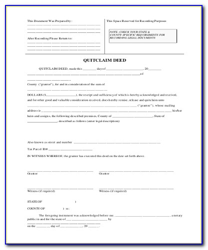 Quit Claim Deed Form Allen County Indiana