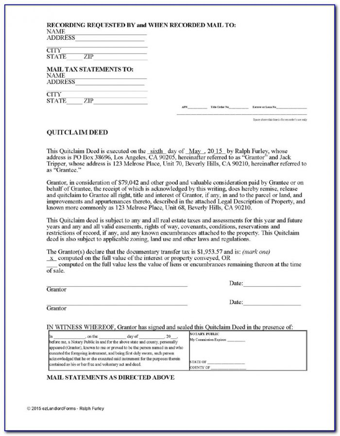 Quit Claim Deed Form Ventura County Ca