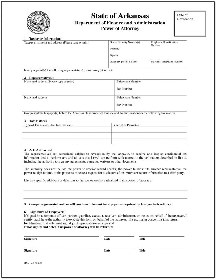 Real Estate Power Of Attorney Form Arkansas