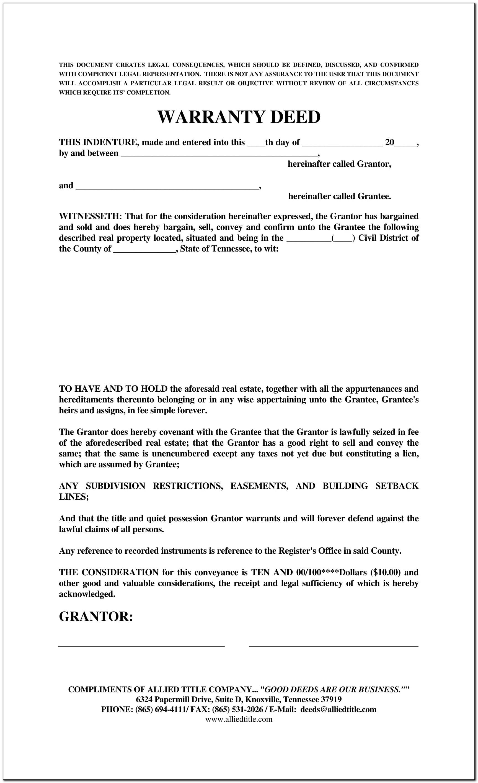 Real Estate Warranty Deed Form