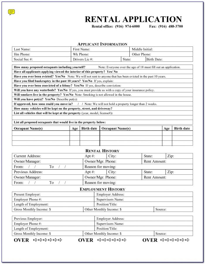 Rental Application Forms Free Printable