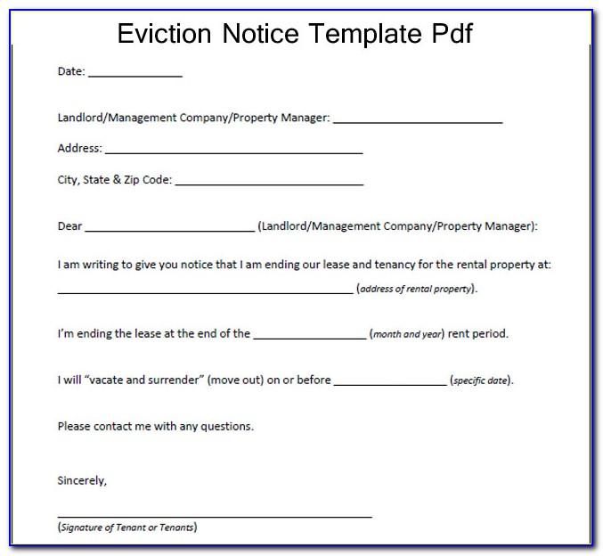 Rental Eviction Notice Sample