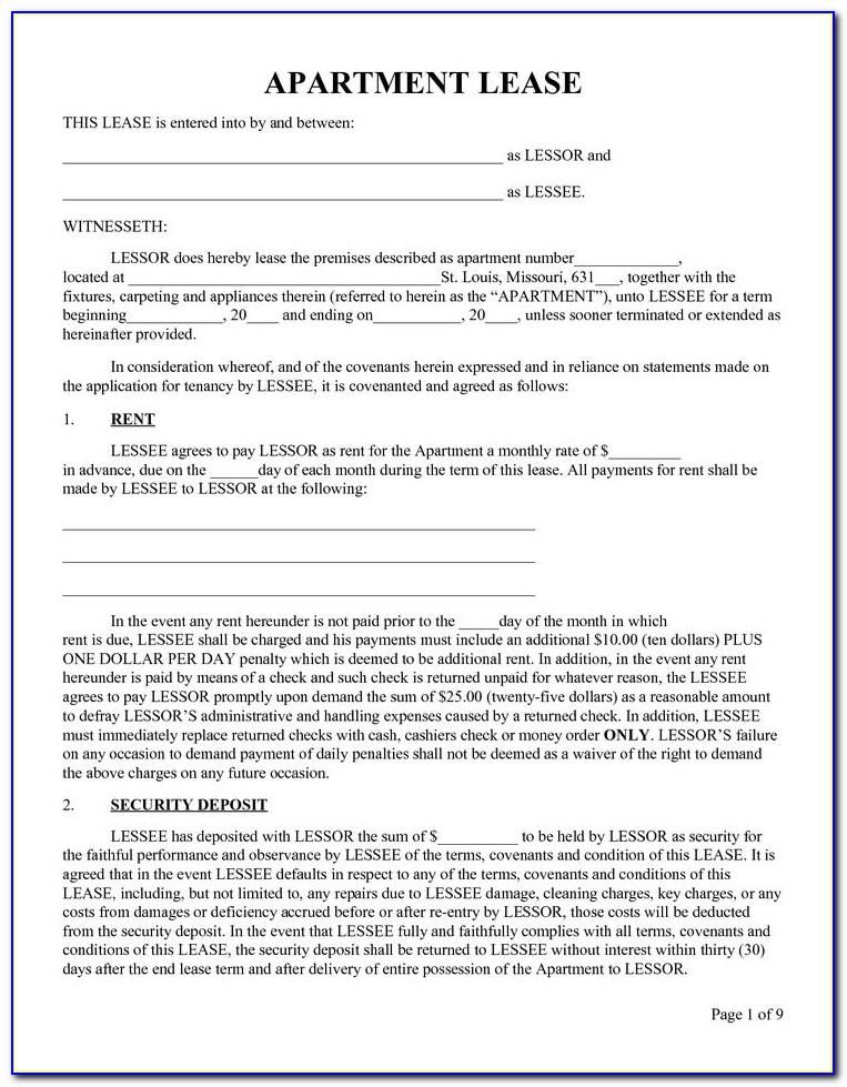 Rental Lease Agreement Form Wa