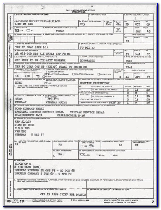 Request Form For Dd214