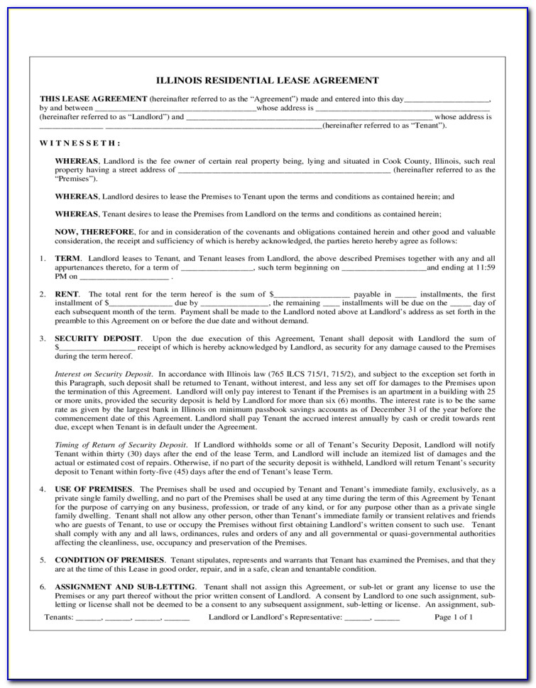 Residential Lease Extension Form Illinois