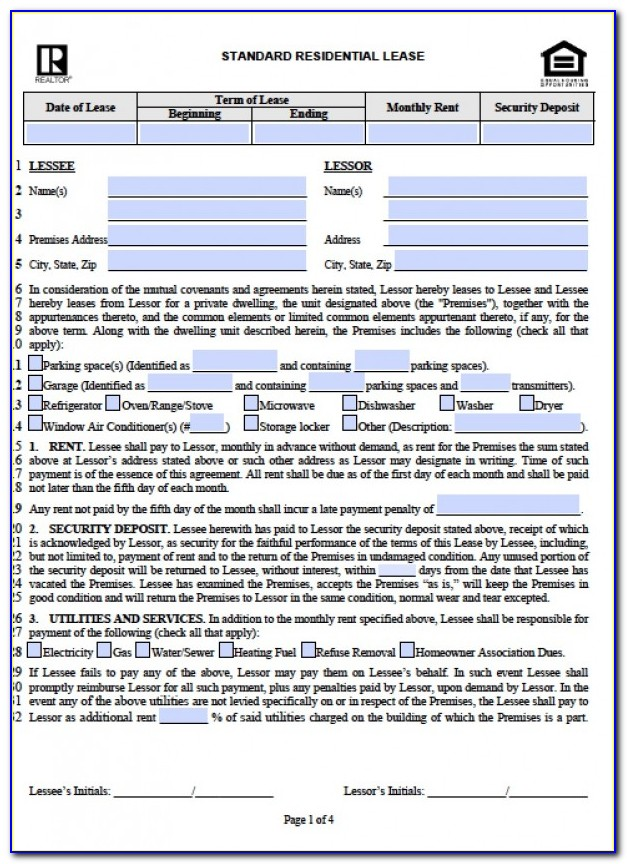Residential Lease Form Illinois