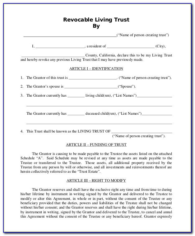 Revocable Living Trust California Form