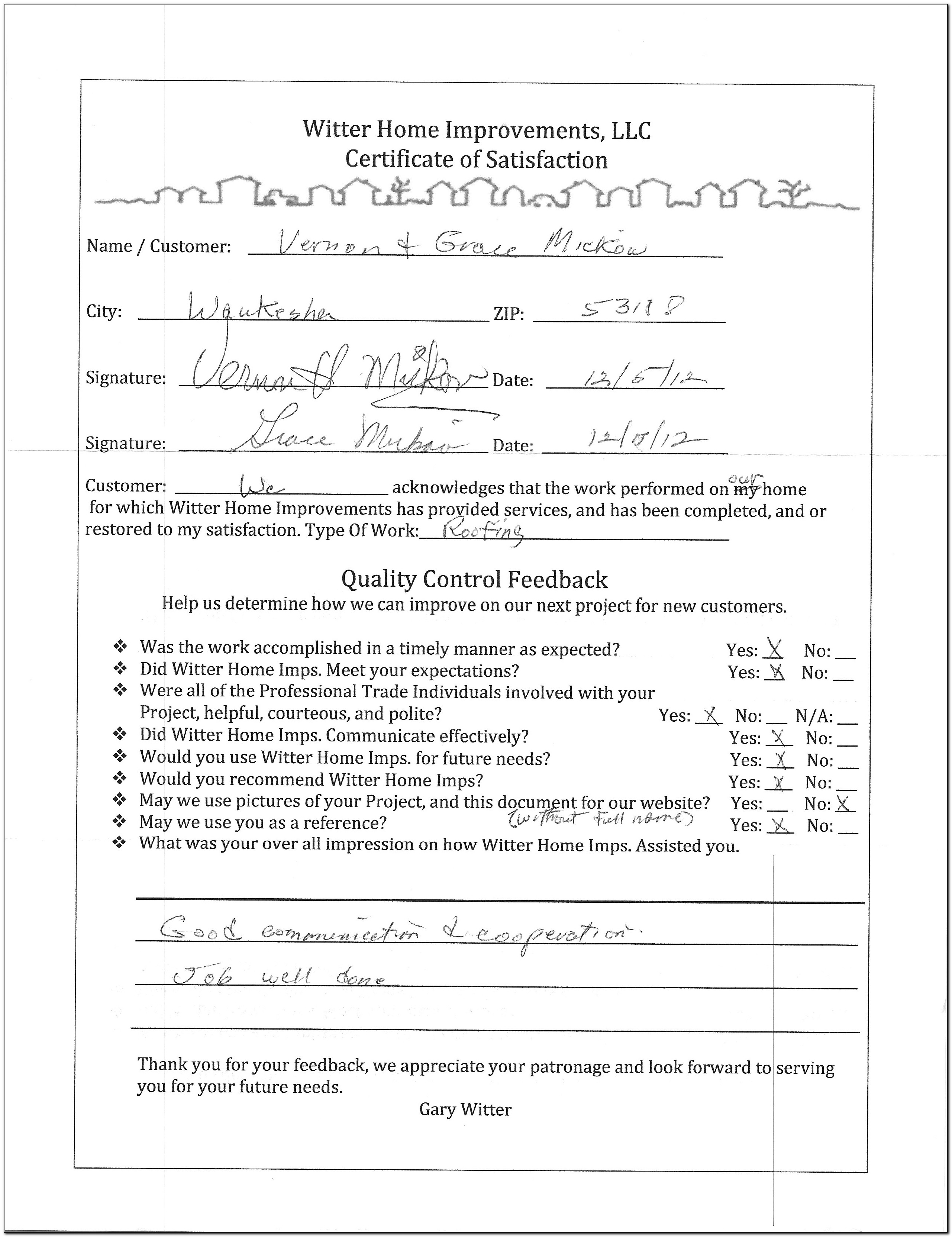 Roofing Certificate Of Completion Form
