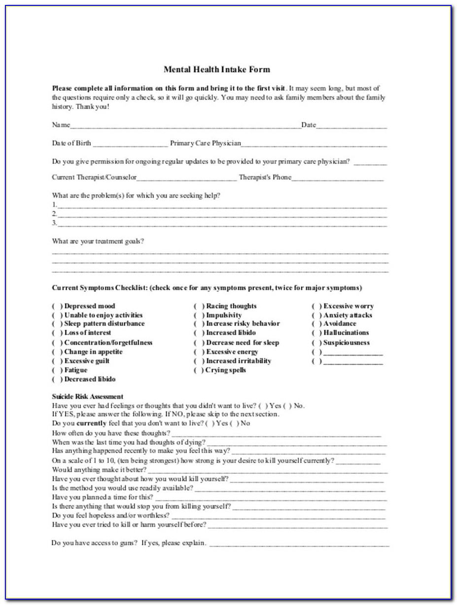 Sample Intake Form Mental Health Counseling