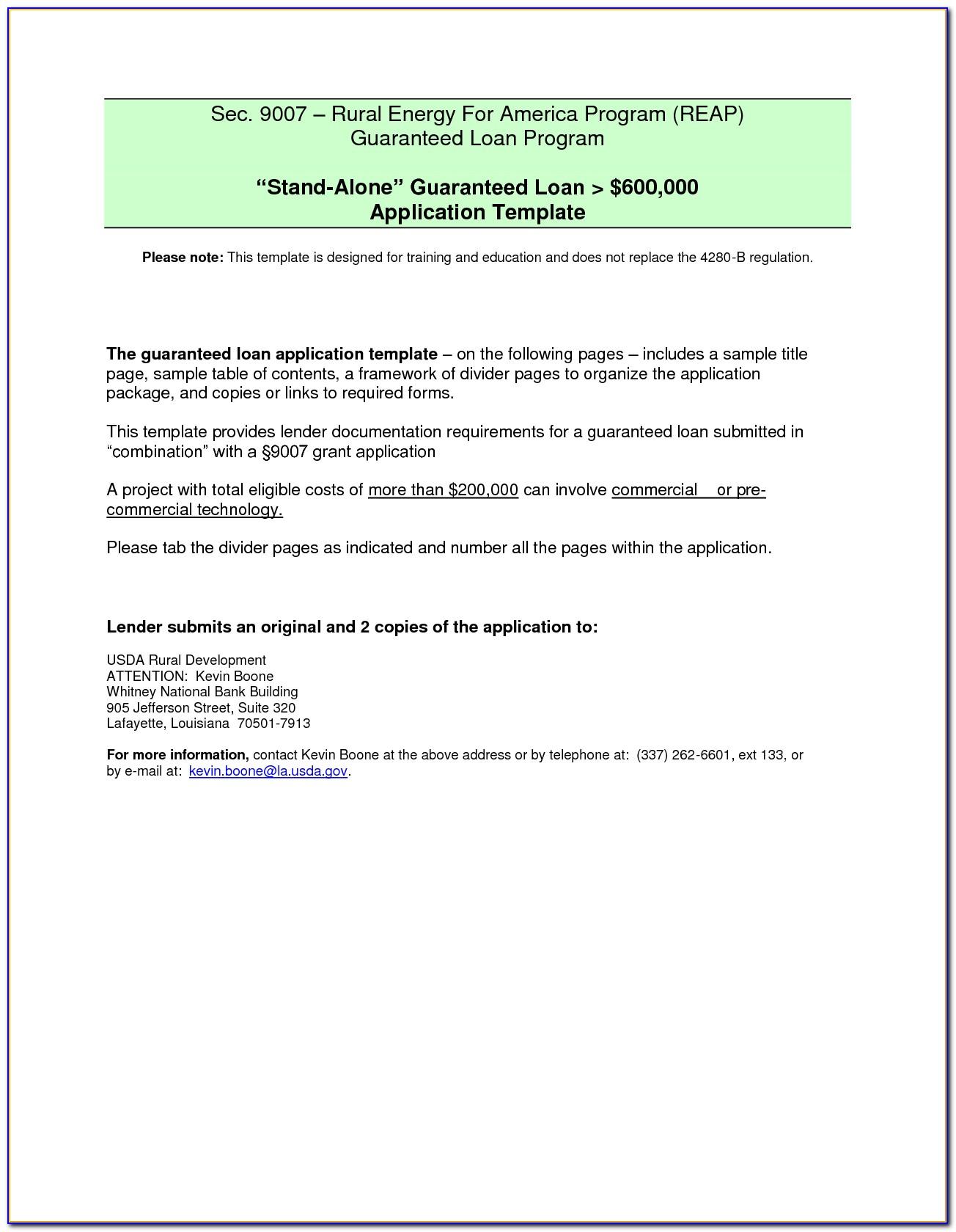 Sample Simple Loan Agreement Form