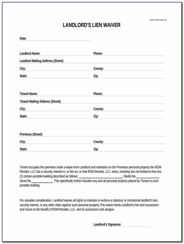 Sba Landlord Lien Waiver Form