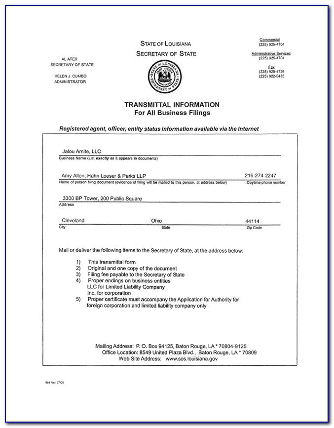 Secretary Of State Louisiana Forms