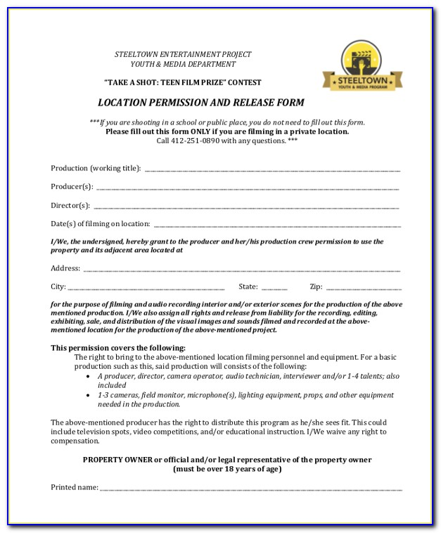 Shooting Waiver Form