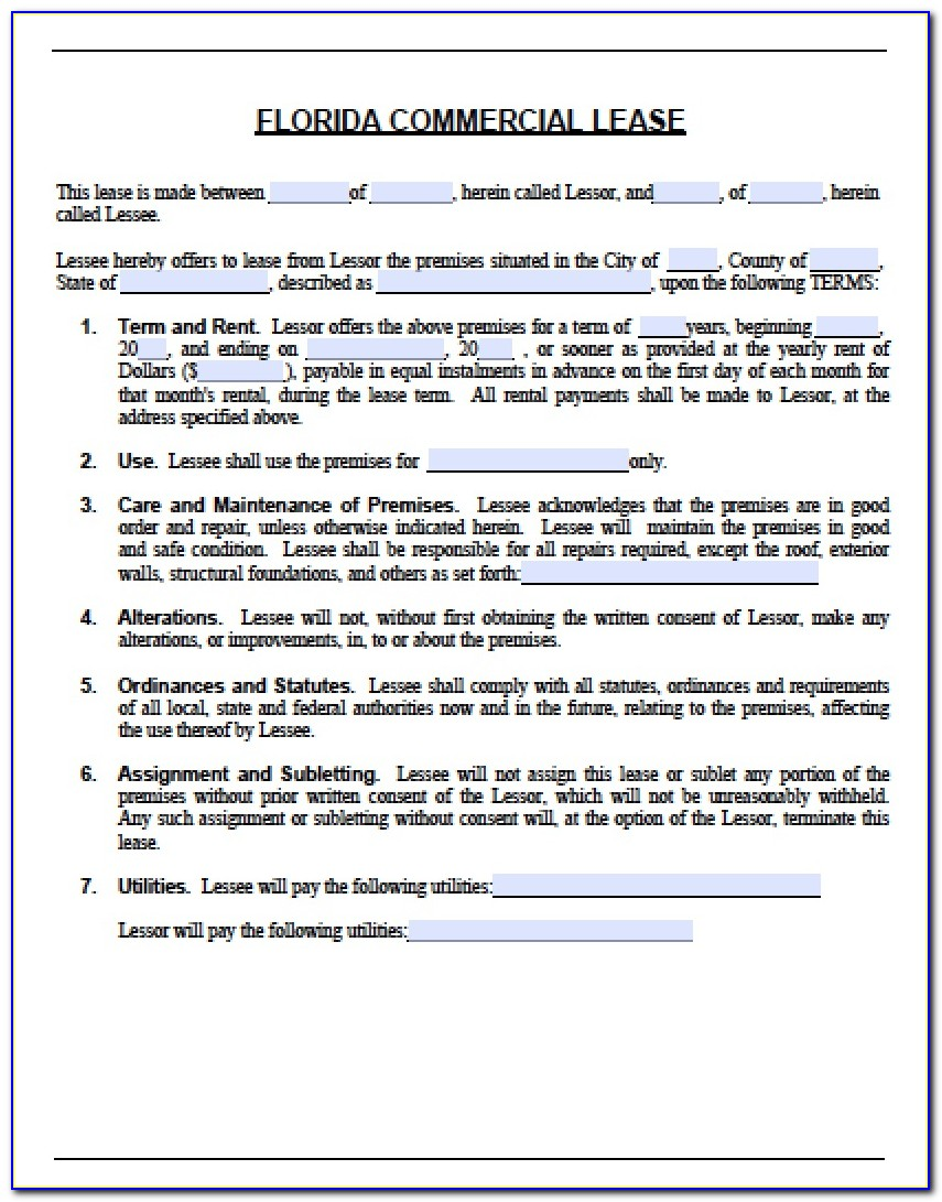 Short Form Commercial Lease Agreement California