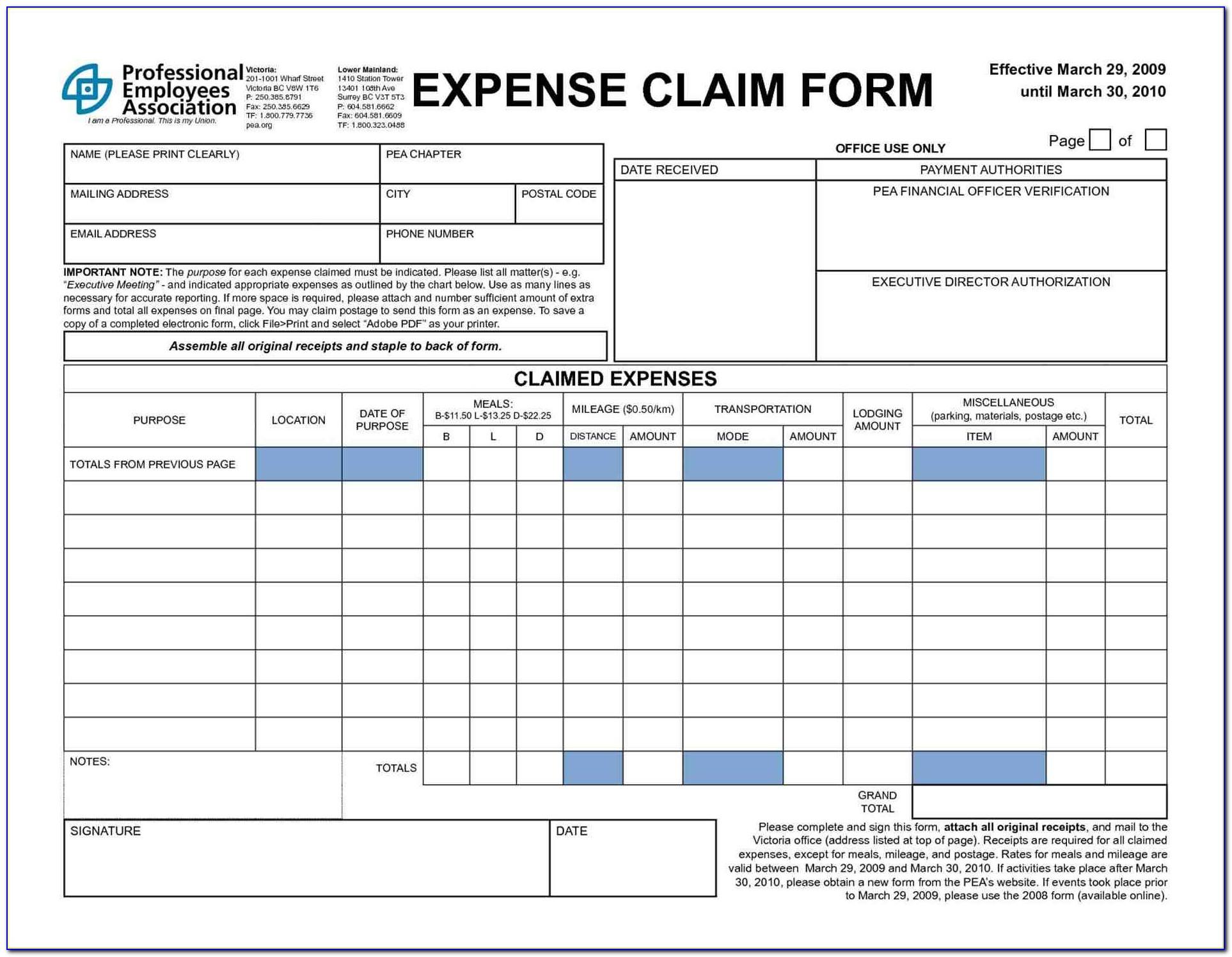 Simple Expense Reimbursement Form Excel