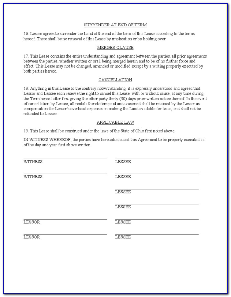 Simple Hunting Lease Form