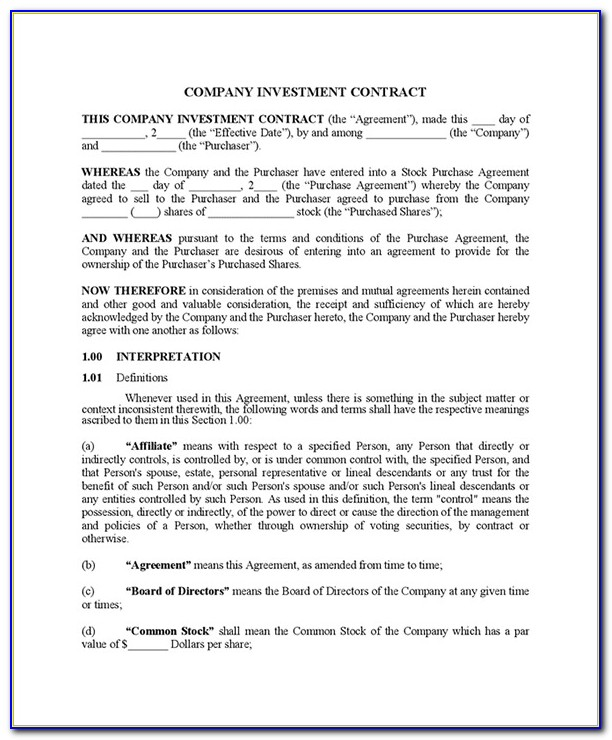Simple Investment Contract Form