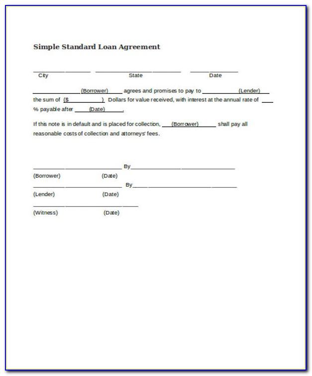 Simple Loan Agreement Form Pdf