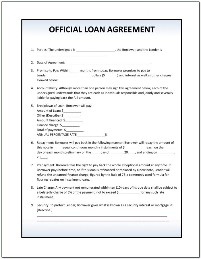 Simple Loan Agreement Form Uk