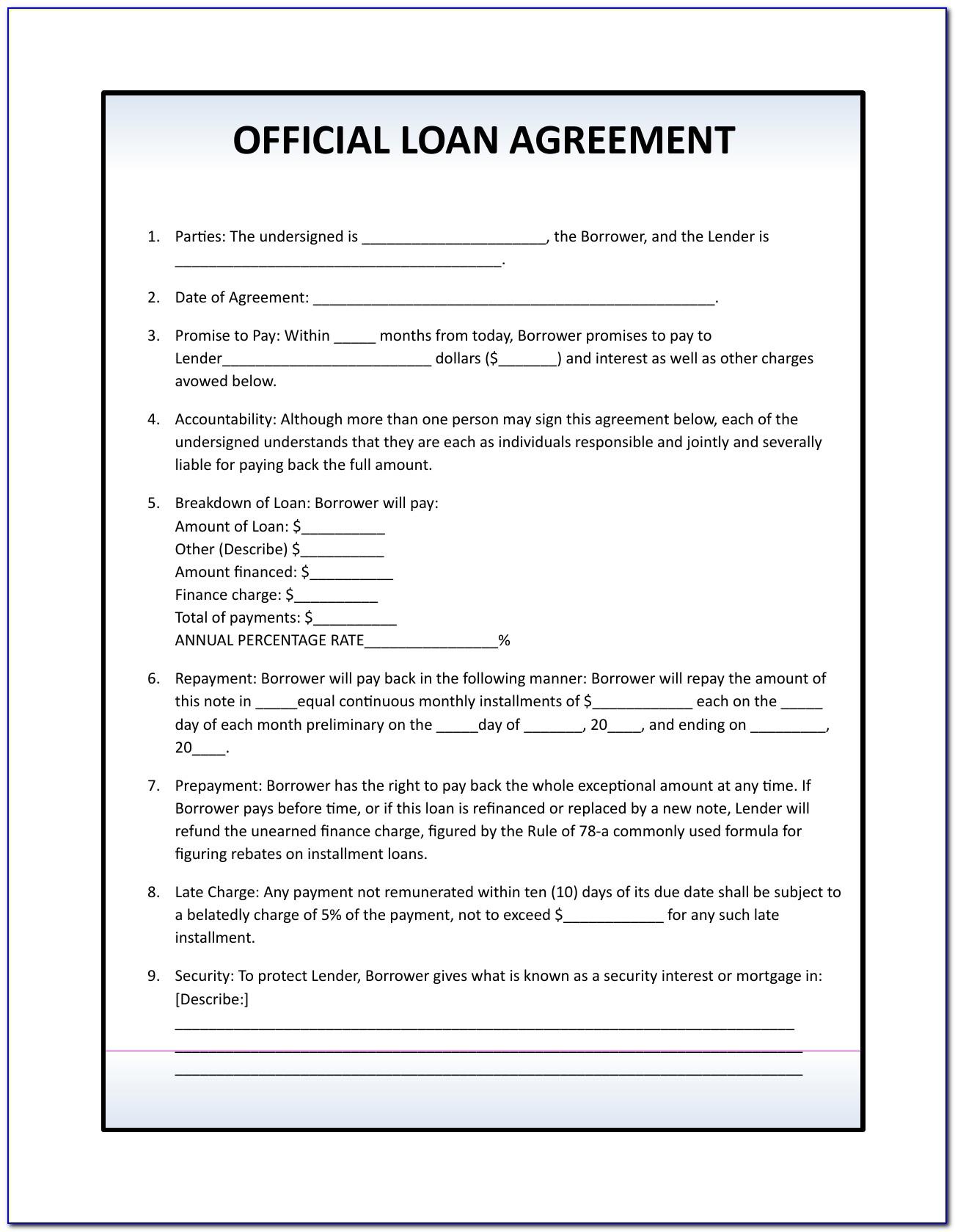 Simple Loan Agreement Form Uk