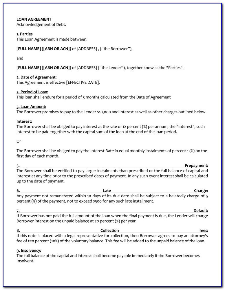 Simple Loan Agreement Format India