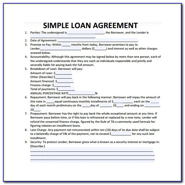 Simple Loan Agreement Format