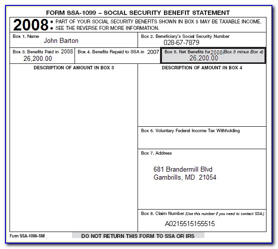 Social Security 1099 Forms Online