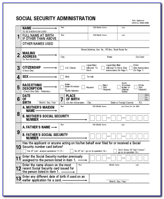 Social Security Benefits Form Application