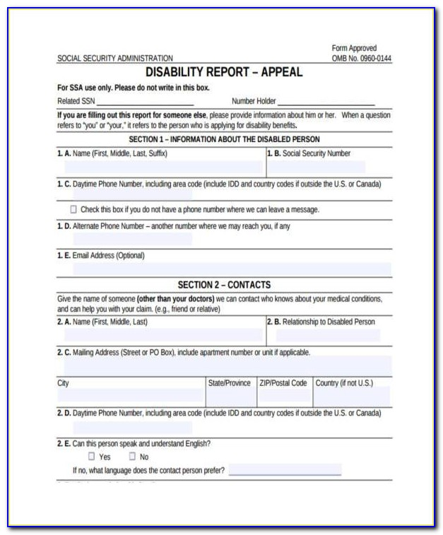 Social Security Disability Appeals Form