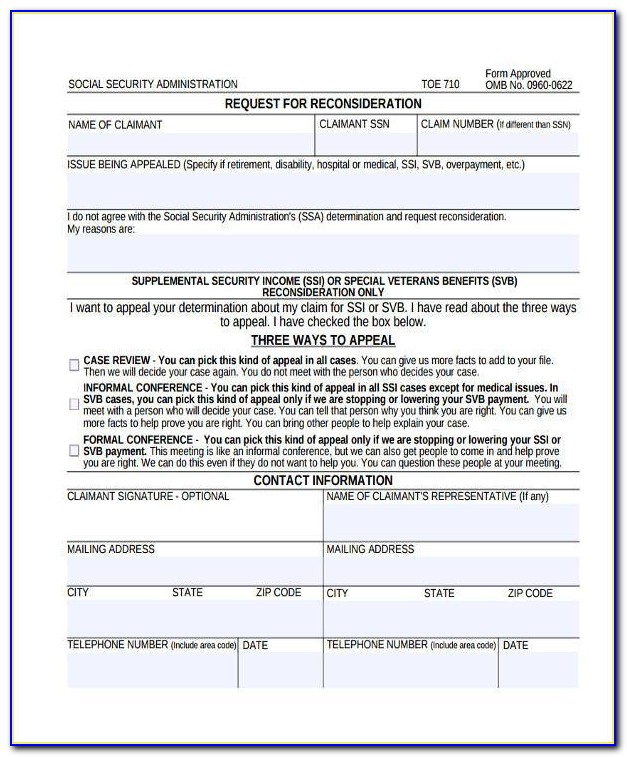 Social Security Disability Denial Appeal Form