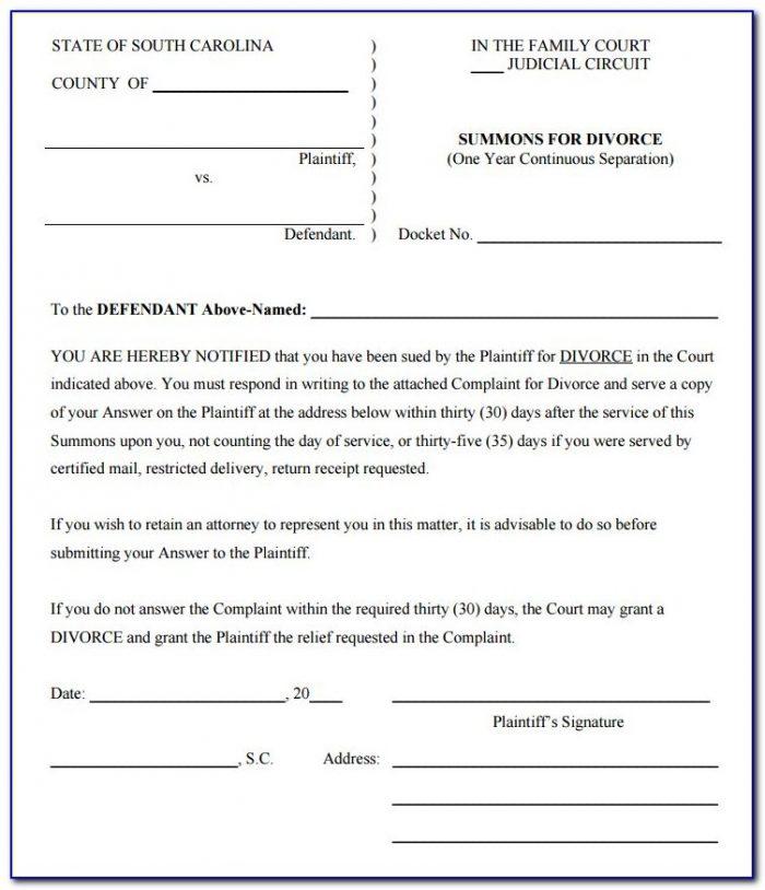 South Carolina Legal Separation Forms