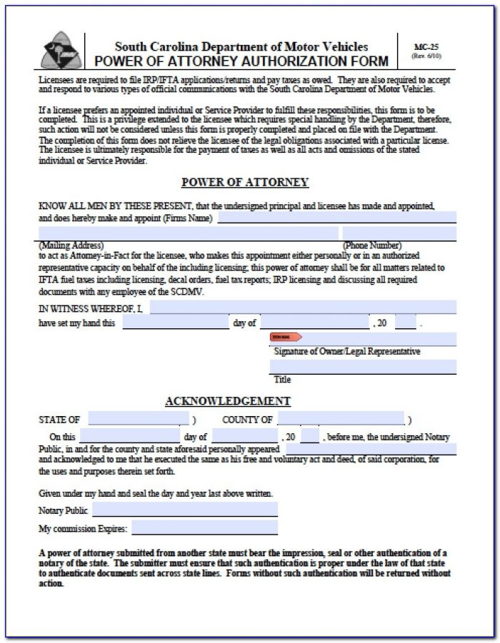 South Carolina Power Of Attorney Form 2848