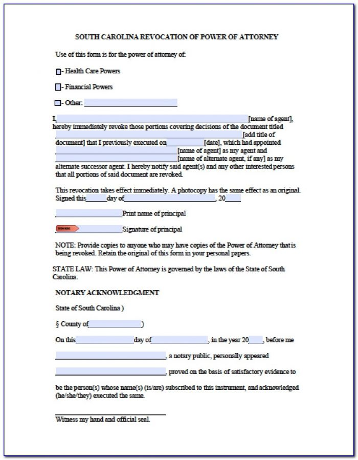 South Carolina Power Of Attorney Form Sc2848