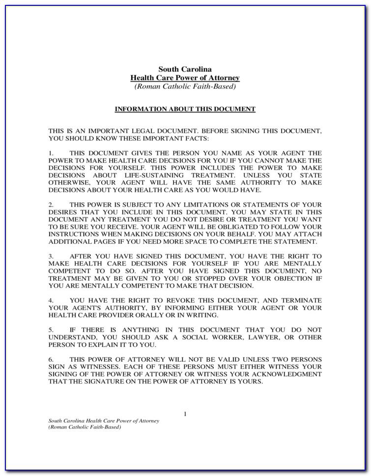 South Carolina Statutory Power Of Attorney Form