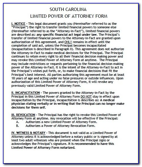 South Carolina Uniform Power Of Attorney Form
