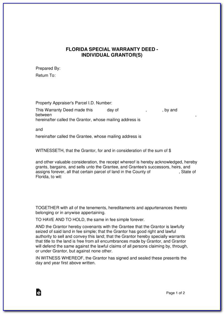 Special Warranty Deed Form Florida