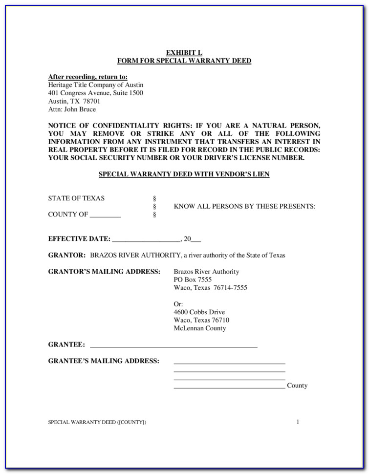 Special Warranty Deed Template Texas