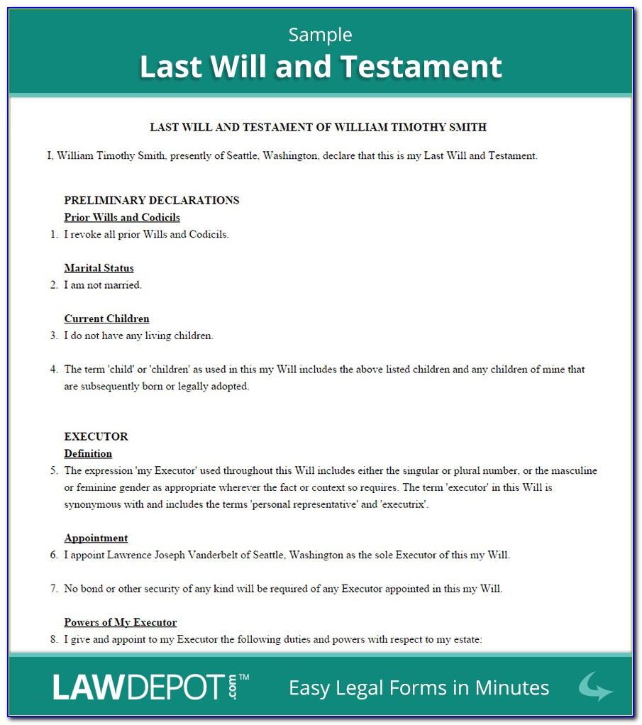Standard Will And Testament Form