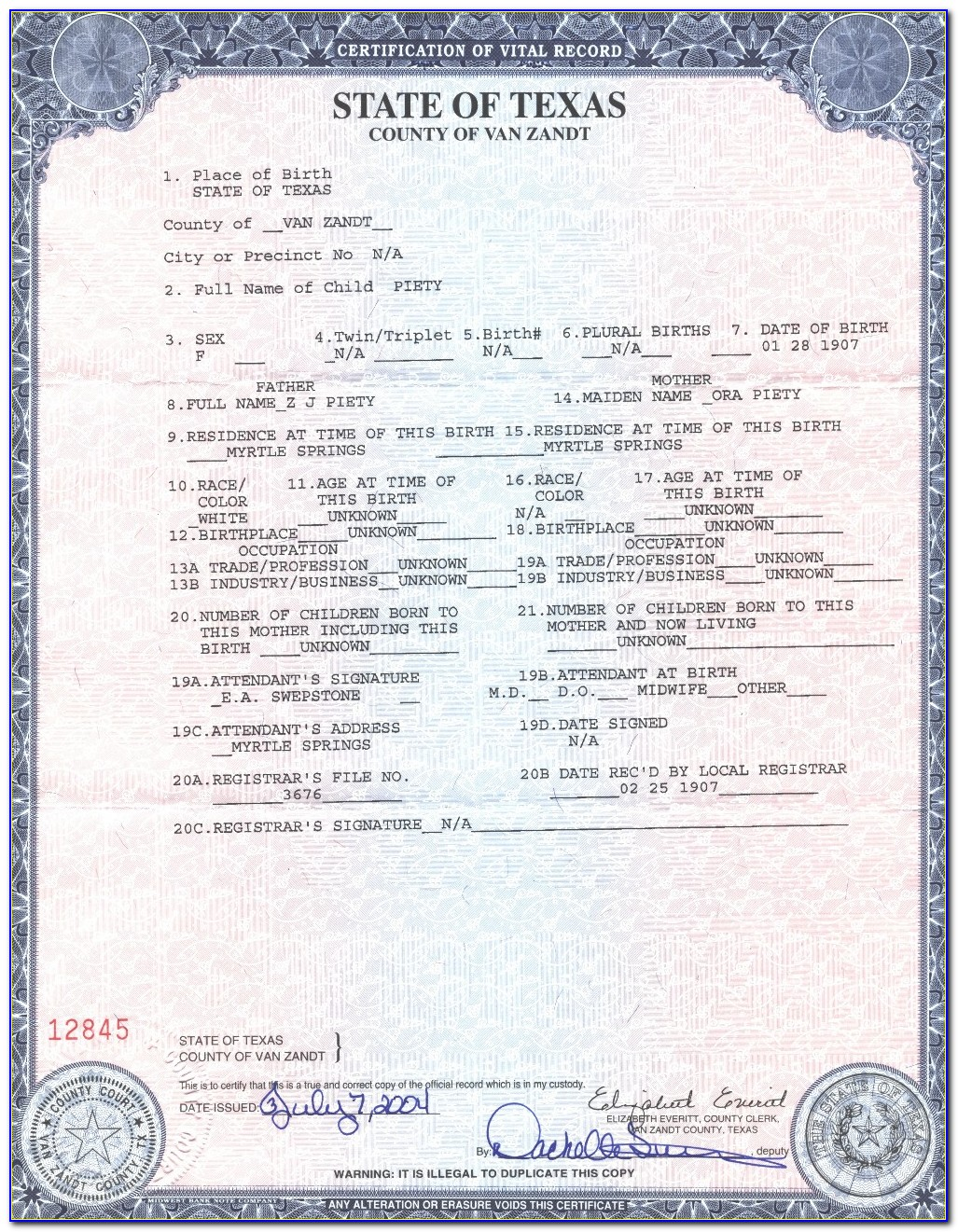 State Of Texas Birth Certificate Long Form