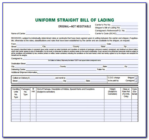 Straight Bill Of Lading Form Canada