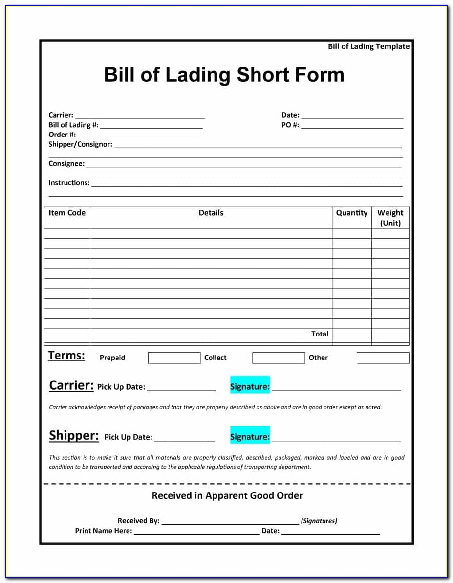 Straight Bill Of Lading Template Free