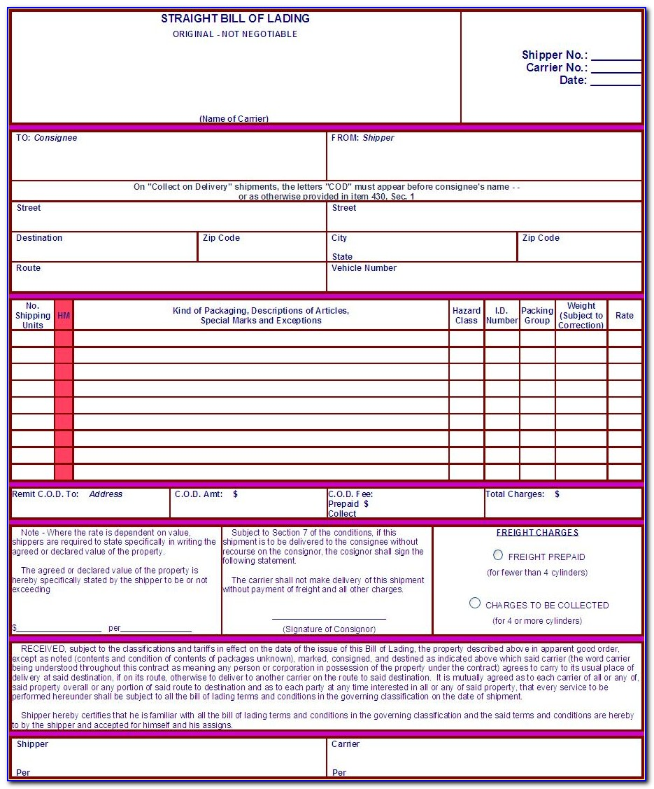 Straight Bill Of Lading Template Word