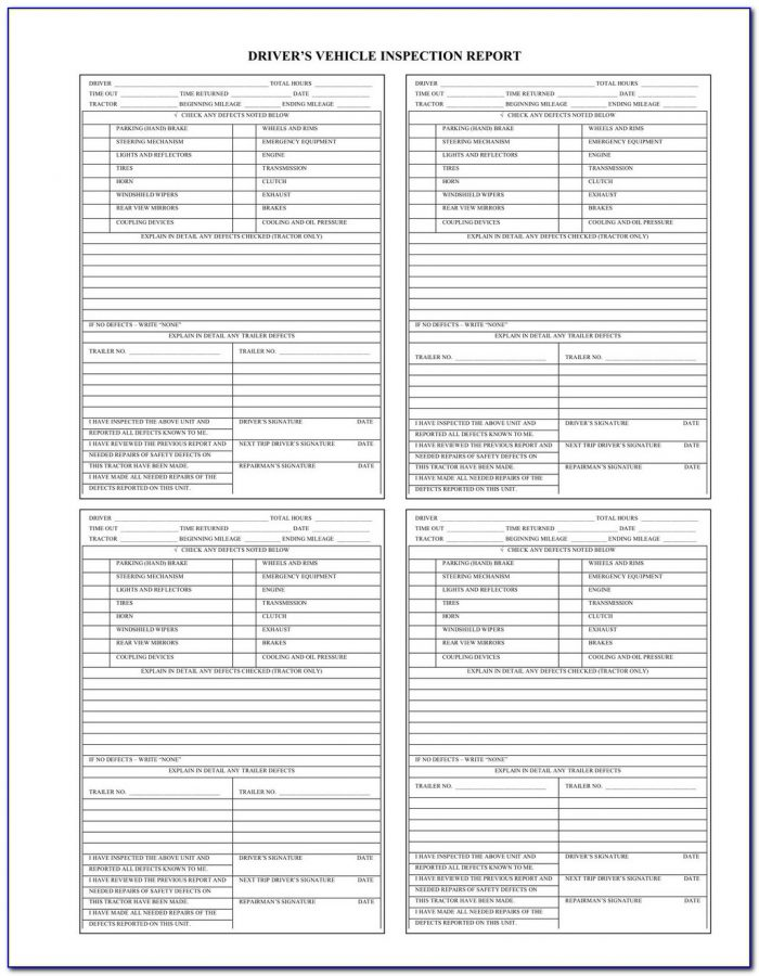 Straight Truck Pre Trip Inspection Checklist Form