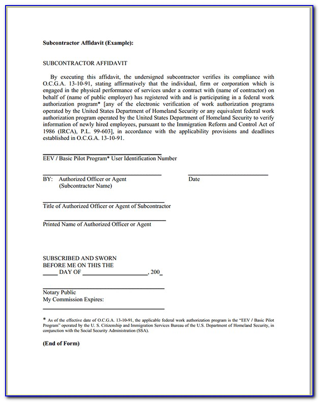 Subcontractor Affidavit Form