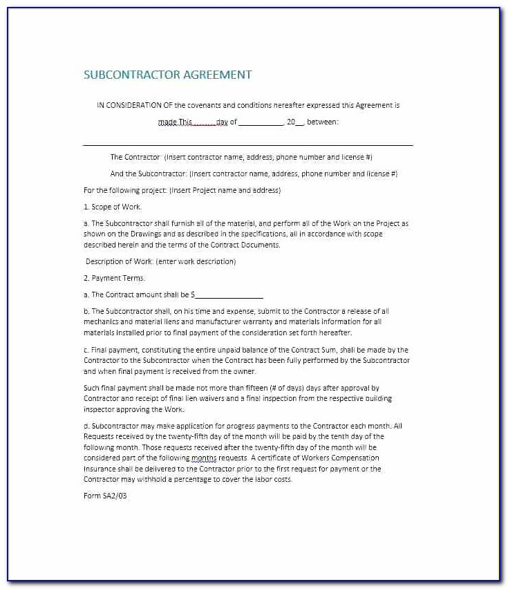 Subcontractor Warranty Form Template