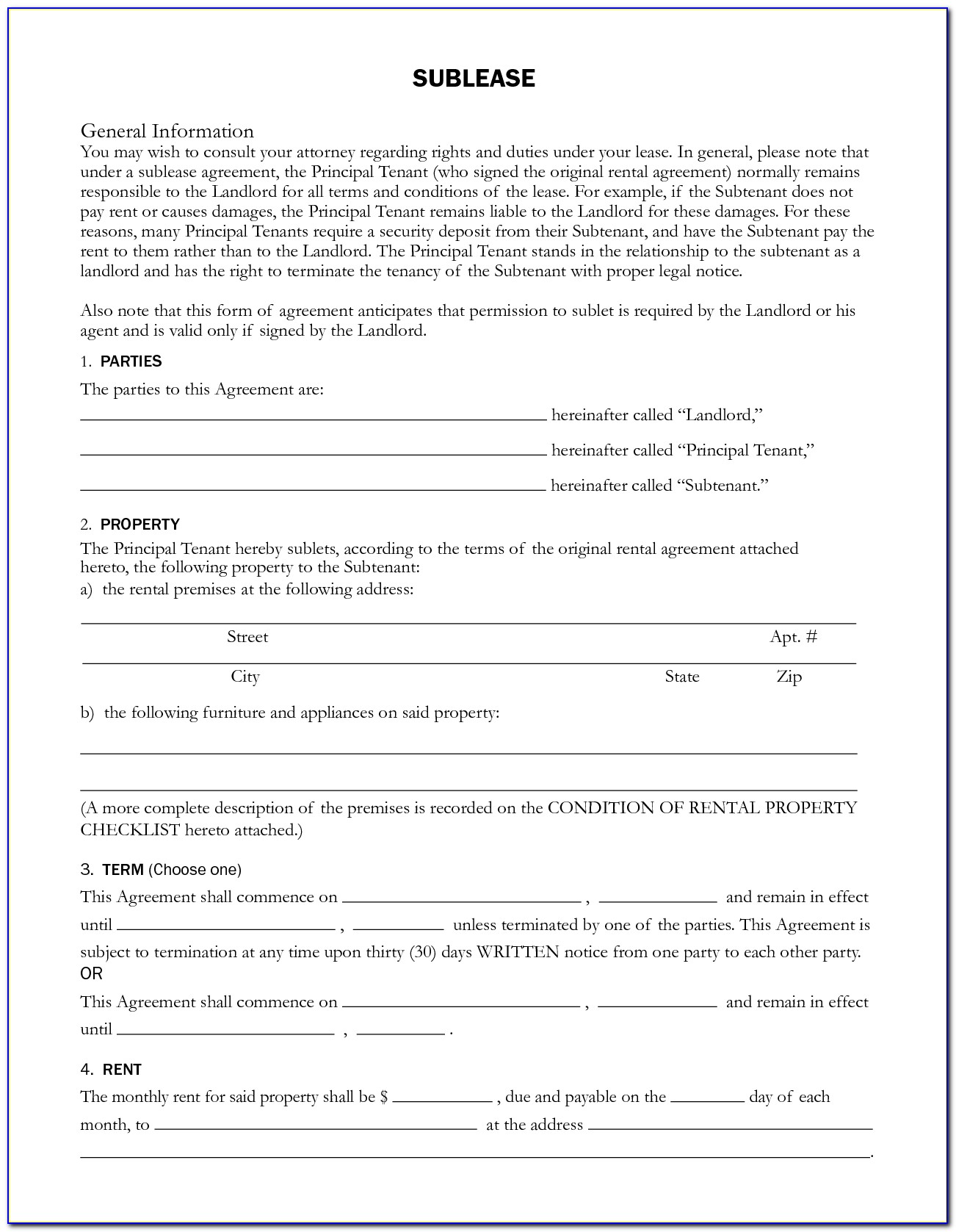 Sublet Rental Form