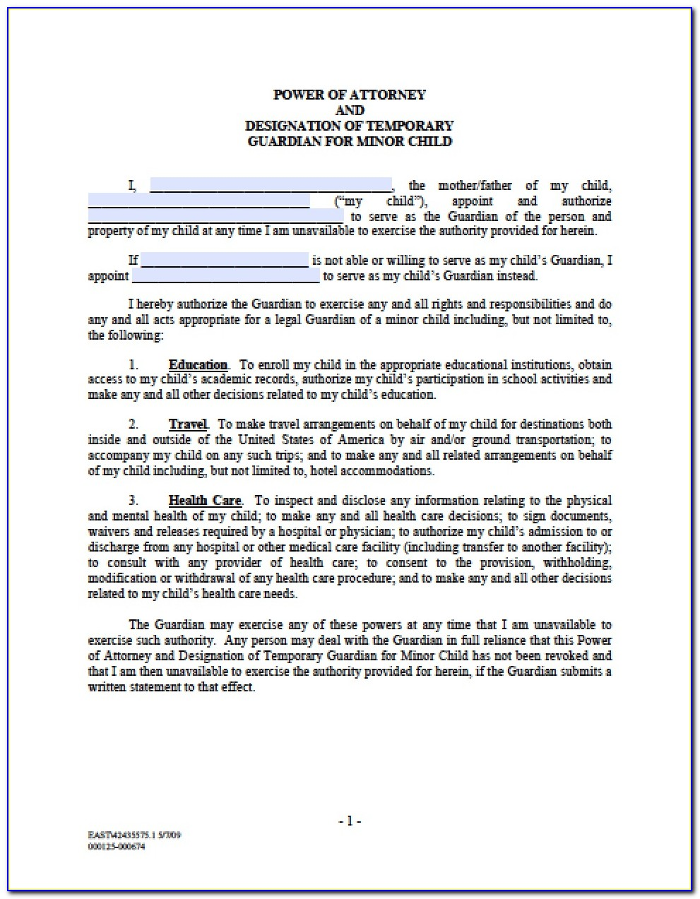 Temporary Guardianship Form Maryland